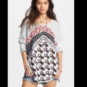 "Free People ""Del Ray"" Mixed Print Pullover"